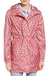 Joules Women's Right As Rain Packable Print Hooded Raincoat Soft Coral Oyster Catcher
