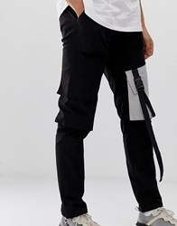 Sixth June Cargo Trousers In Black With Contrast Pockets