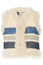 Sea Shearling Trimmed Striped Silk And Wool Blend Jacquard Vest