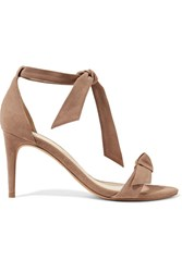 Alexandre Birman Clarita Bow Embellished Suede Sandals Taupe