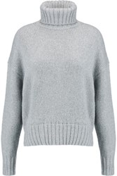Michael Michael Kors Metallic Knitted Turtleneck Sweater Gray