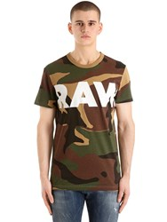 G Star By Pharrell Williams Woodland Camo Print Cotton T Shirt Camouflage