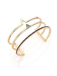 Jules Smith Designs Multi Row Turquoise And Crystal Cuff Bracelet Gold Turquoise