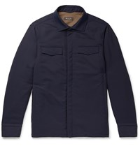Loro Piana Tecnowool Padded Virgin Wool Blend Overshirt Blue