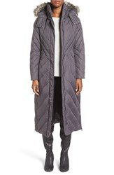 Larry Levine Women's Down And Feather Fill Maxi Coat With Faux Fur Trim Hood