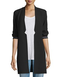 Eileen Fisher Structured Silk Notched Collar Long Jacket Black Women's