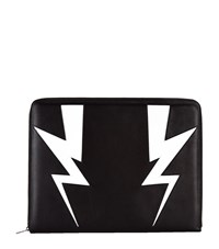 Neil Barrett Lightning Bolt Leather Document Holder Unisex Black
