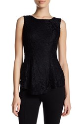 Catherine Malandrino Sleeveless Lace Peplum Shirt Petite Black
