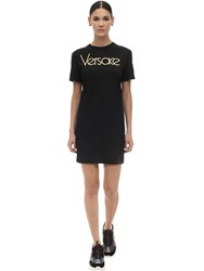 Versace 80S Logo Metal Print T Shirt Dress Black