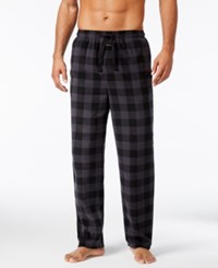 Perry Ellis Men's Buffalo Plaid Fleece Pajama Pants Black