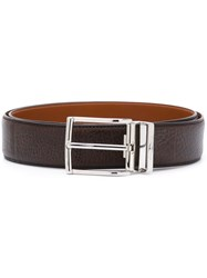 Santoni Classic Textured Belt Brown