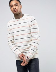 Asos Cable Knit Jumper With Stripes Ecru Cream
