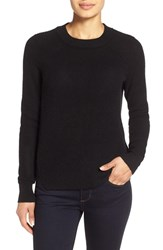 Women's White Warren Thermal Knit Crewneck Cashmere Sweater Black