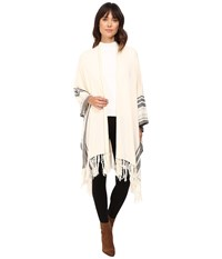 Bcbgeneration Stripe Cozy Oversized Ruana Ivory Women's Clothing White