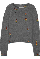 Marc Jacobs Bead Embellished Distressed Wool And Cashmere Blend Sweater Gray
