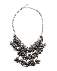 Fragments For Neiman Marcus Fragments Pearly Hematite Beaded Bib Necklace