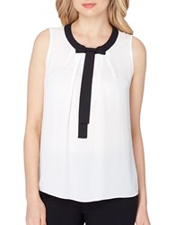 Tahari By Arthur S. Levine Georgette Bow Top Ivory White