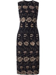 Givenchy Floral Embroidered Shift Dress Black