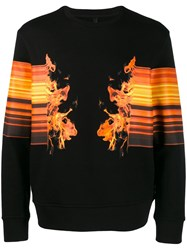 Neil Barrett Flame Print Sweater Black