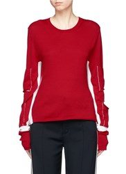 Ports 1961 Cutout Elbow Contrast Stripe Virgin Wool Sweater Red