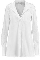 Donna Karan Oversized Stretch Cotton Blend Shirt White