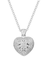 B. Brilliant Cubic Zirconia 3D Heart Pendant Necklace In Sterling Silver