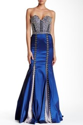 Cassandra Stone Beaded Bustier Gown Blue