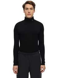 Ambush Logo Embroidered Jersey Turtleneck Black