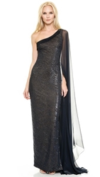 Reem Acra Embroidered One Shoulder Gown With Chiffon Cape Sleeve Navy