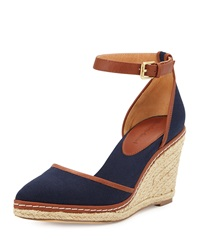 Keiko Closed Toe Canvas Espadrille Wedge Navy Charles David