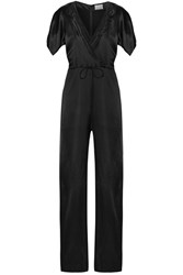 Maiyet Wrap Effect Organza Trimmed Silk Satin Jumpsuit Black