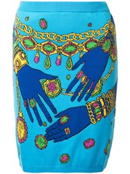 Moschino Hands And Jewels Skirt Blue