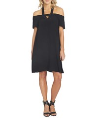 1.State Solid Cold Shoulder Halter Dress Black