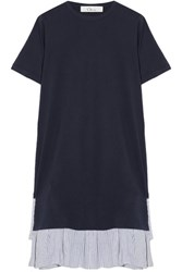 Clu Striped Seersucker Trimmed Cotton Jersey T Shirt Dress Navy