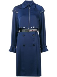 Karl Lagerfeld Transformer Pleated Trench Coat Blue