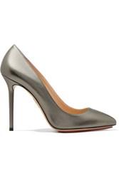 Charlotte Olympia Monroe Metallic Leather Pumps Gunmetal
