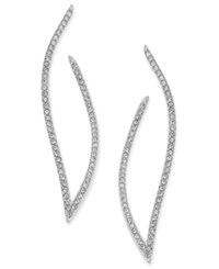 Danori Pave Contoured Open Hoop Post Earrings Silver