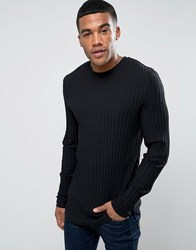 Asos Extreme Muscle Long Sleeve T Shirt In Chunky Rib In Black With Curved Hem Black