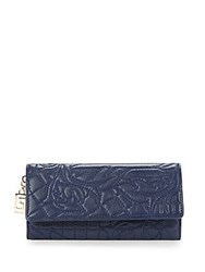 Versace Quilted Snap Closure Leather Wallet Blue