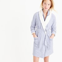 J.Crew Sherpa Lined Robe In Pinstripe Vintage End On End Cotton