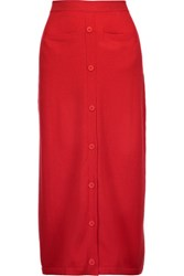 Tomas Maier Cashmere Midi Skirt Red