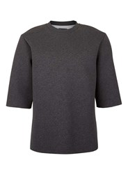 Topman Mid Grey Lux Grey Raw Edge Boxy T Shirt