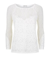 Reiss Shell Lace Long Sleeve Top Female