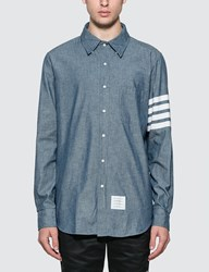 Thom Browne Straight Fit Chambray Shirt Blue