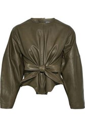 Muubaa Woman Harriet Tie Front Leather Top Army Green