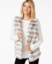Alfani Striped Faux Fur Vest Striped Gradient White