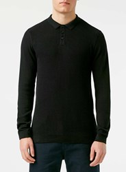 Topman Black Ribbed Polo Neck Jumper