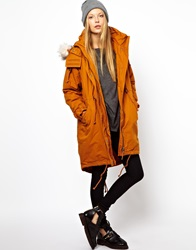 Monki Parka With Faux Fur Trim Hood