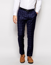 Peter Werth Check Wool Suit Trousers In Slim Fit Navy