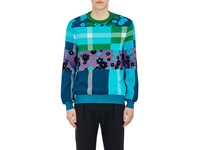 Paul Smith Men's Flower And Plaid Intarsia Knit Cotton Sweater No Color